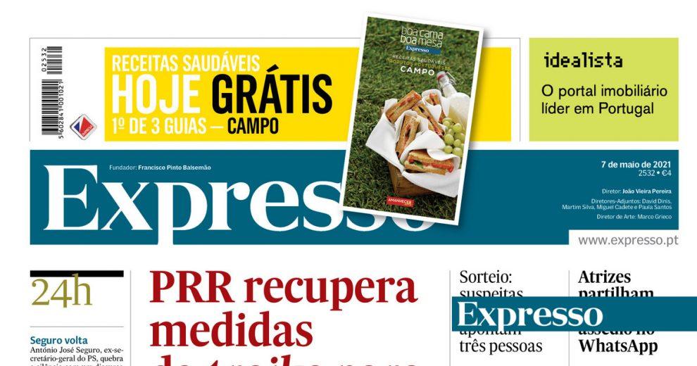 A primeira página do Expresso: CDS agarra-se ao PSD e quer coligação nas legislativas